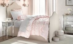 A little Girl's Bedroom Pink & Grey  Reinette iron bed & Ava collection