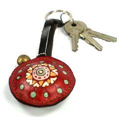 flower red 02 key ring leather by rntn on Etsy. $9.00, via Etsy.