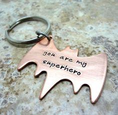 Superhero Key Chain  Hand Stamped Copper Batman by RoseCreekToo, $20.00