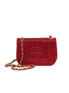 Authentic vintage Chanel from Resurrection Vintage CHANEL RED LIZARD MINI