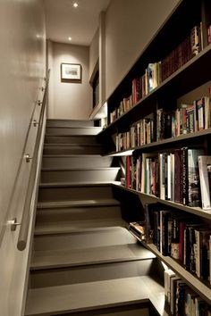Stairs on pinterest staircases spiral staircases and wood stairs - Staircases with integrated bookshelves ...