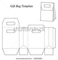 Gift bag template with lid, vector illustration - stock vector