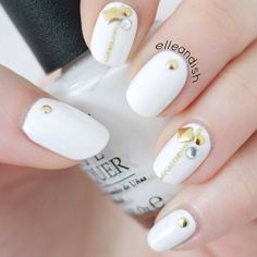 elegant & simple white & gold nails w/studs by elleandish