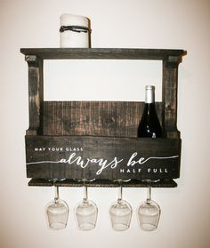 Reclaimed Pallet Wood Wine Rack Small — Personalized with Quote May your glass always be half full - Decoration Art Loft Pallet Crafts, Pallet Projects, Home Projects, Wooden Crafts, Diy Projects To Sell, Woodworking Projects, Wood Wine Racks, Dyi Wine Rack, Pallet Wine Rack Diy