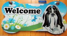 SHIH TZU DOG WOOD BONE WALL SIGN PLAQUE WELCOME HOME *FREE SHIPPING*