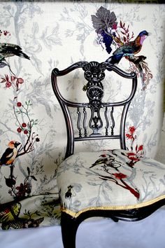 Matching wallpaper and upholstery - Timorous Beasties Chair Upholstery, Upholstered Furniture, Painted Furniture, Slipcover Chair, Chair Fabric, Chair Cushions, Chinoiserie, Victorian Chair, Timorous Beasties