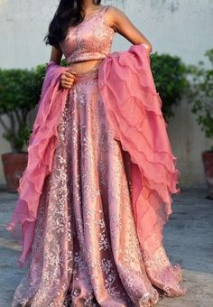 Pinkish Mauve Net Lehenga with Ruffle Duptta - Kurti Set Lehnga Dress, Lehenga Blouse, Anarkali Gown, Dress Indian Style, Indian Dresses, Indian Wear, Indian Wedding Outfits, Indian Outfits, Indian Clothes