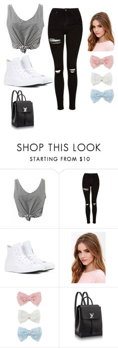 """""""White and black"""" by kayleighmw on Polyvore featuring Topshop, Converse, Lulu*s and Decree"""