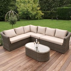 Maze Rattan Winchester Large Deluxe Corner Sofa Set