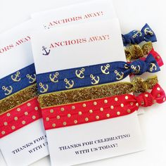 Nautical Party Favors - Nautical Party Decor - @PlumPolkaDot Nautical Party Favors, Nautical Bachelorette Party, Personalized Baby Shower Favors, 30th Birthday Parties, Birthday Party Favors, Nautical Baby, Party Supplies, Glitter Hair, Gold Glitter