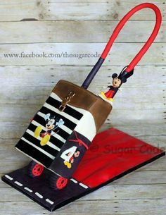 Gravity Defying mickey trolley luggage cake - Cake by Saadhana Parthiban