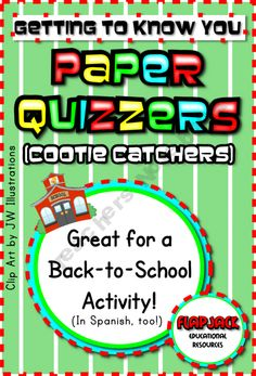 FREEBIE! Really cute cootie catchers for back to school...could be used for almost any grade! :-)  FlapJack-Ed-Resources Shop - | Teachers Notebook