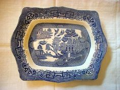1923-1936 BLUE WILLOW RECTANGULAR JOHN STEVENTON RARE PLATTER