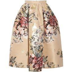 Fendi Metallic floral-jacquard midi skirt (587.800 HUF) via Polyvore featuring skirts, cream, floral print skirt, floral midi skirt, zipper skirt, floral skirt and midi skirt