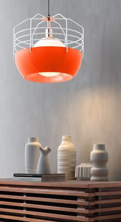 Tangerine cage lamp