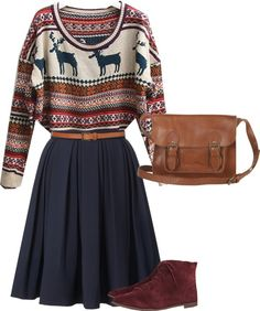 Winter sweater with twirly navy skirt! but with combat boots instead.