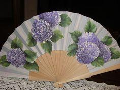 Antique Fans, Vintage Fans, Hand Held Fan, Hand Fans, Painted Fan, Hand Painted, Hydrangea, Fan Decoration, Diy Fan