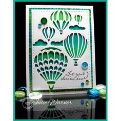 Serendipity Stamps Let Your Dreams Soar! stamp and Wood Background stamp and Hot Air Balloons die