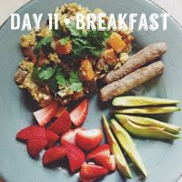 The Fork Diaries: Whole 30 - The First 15Breakfast: Scrambled eggs with sautéed onions, mushrooms, and sweet potatoes. Topped with cilantro Turkey sausage links Salted avocado slices Sliced strawberries