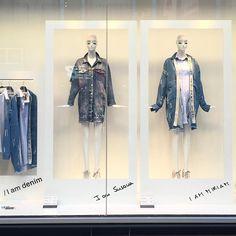 Denim Display, Display Windows, Visual Merchandising, Zara, Retail, Coat, Unique, Jackets, Instagram
