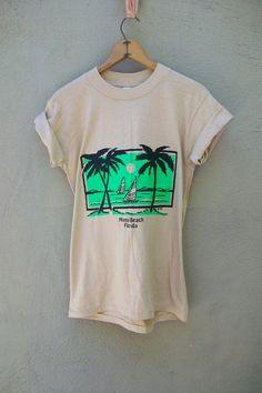 Vintage 1980s t shirt surf los angeles cadillac print palm for Miami t shirt printing