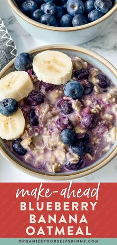 Blueberry overnight oats made with fresh blueberries and sweeten with ripe bananas for an easy wholesome make-ahead breakfast recipe. Organize Yourself Skinny   Healthy Breakfast Recipes   Healthy Oatmeal Recipes   Healthy Family Recipes   Healthy Meal Prep   Healthy Recipes   Healthy Snack Recipes   Skinny Recipes Healthy Make Ahead Breakfast, Healthy Breakfast Smoothies, Delicious Breakfast Recipes, Snack Recipes, Snacks, Healthy Oatmeal Recipes, Healthy Freezer Meals, Skinny Recipes, Blueberry Overnight Oats