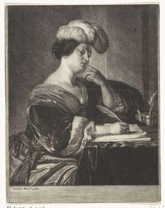 Carel de Moor (II)   Portret van een schrijvende vrouw, Carel de Moor (II), 1666 - 1738   Aan een bureau zit een vrouw te schrijven. Ze heeft een van haar vingers naar haar lippen gebracht. Ze draagt een hoofdtooi met veren.