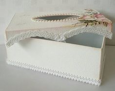 Rose Tissue box , Tissue box Cover , Kleenex Box Cover , Shabby Chic Decor , Home Decor , Bathroom Decor This is a pretty Shabby chic white Tissue box cover.This is perfect for your Bedroom decor/Bathroom decor.A beautiful addition to any style of home. This is a strong Paper mache box. Here I have painted the box then added a Vintage rose napkin and lightly distressed it. I have then added lots of gimp trim and braid trim. I have also added some flat back pearls on the top and two sati...
