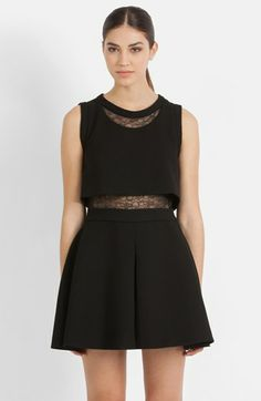 maje Tiered Lace Accent Fit & Flare Dress available at #Nordstrom