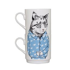 Brighten up the breakfast table with this set of two Cat stacking tea mugs from Jimbobart. Beautifully crafted from fine bone china they are hand decorated & feature a humorous cat wearing blue pyj...