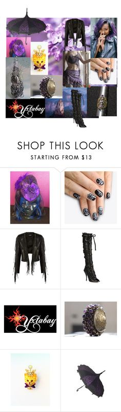 """Black & Lilac #2"" by yxtabay ❤ liked on Polyvore featuring alfa.K, Balmain, Jimmy Choo, jewelry, pocpolyvore and Yxtabay"