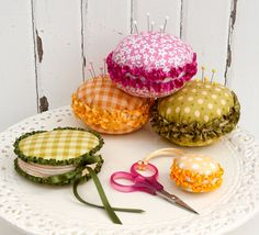 Macaron Mercerie - Sewing Accessories PDF Pattern (pin cushion, needle case and scissor fob). $12.95, via Etsy.