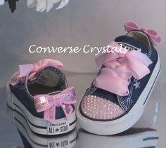 Baby Toddler infant Toes and Bows Custom Crystal Bling Cute Baby Shoes, Baby Girl Shoes, My Baby Girl, Girls Shoes, Baby Boys, Bedazzled Shoes, Bling Shoes, Glitter Shoes, Bling Converse