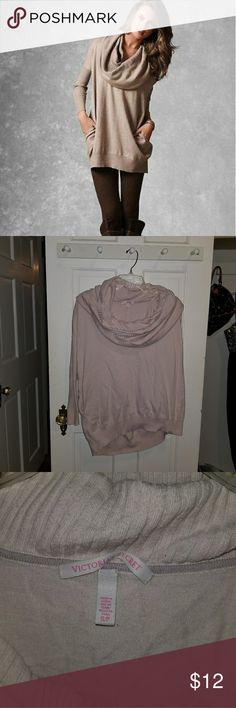 Victoria's Secret Cowl Neck Sweater Picture is for reference to show the style. This is a very light pink color. It is worn, has holes in the arm pit area and has pilling. The cowl neck is big enough to wear as a hoodie if needed. I have other VS listings so please feel free to bundle & save or make an offer! Victoria's Secret Sweaters Cowl & Turtlenecks