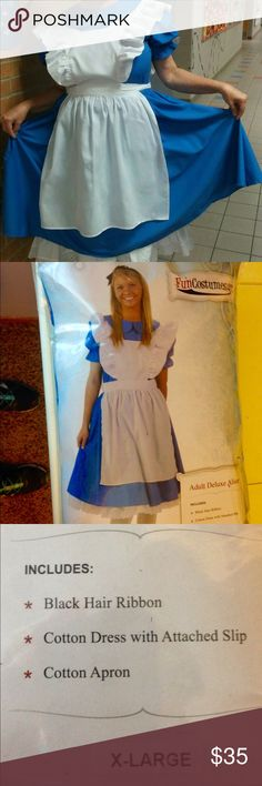 NEW!!!    ALICE IN WONDERLAND COSTUME WORN ONCE!  Comfortable costume. Well made of cotton! EXCELLENT CONDITION!! Dresses Midi
