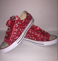 13ae9518d230 Bedazzled bling all star chuck taylors converse. red and white  rhinestone  and pearl chucks