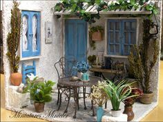 Miniature Dollhouse Greece House Porch Set Scale by Minicler