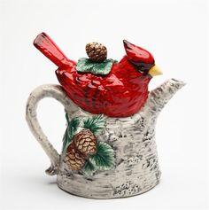 Cardinal on Birch Teapot