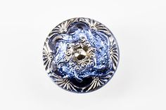 B0791 - Czech Glass Button - Silver Blue - (1) - $4.50