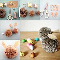 Easy and Cute Pom Pom Easter Bunny for Kids Pom-Pom Bunnies Whip up these Pom-Pom Bunnies for a quick and easy Easter decoration. Here is an array of colourful DIY Easter craft decoration ideas that you and your kids will definitely love and make your Eas Kids Crafts, Bunny Crafts, Adult Crafts, Crafts For Teens, Easter Crafts, Craft Projects, Easter Art, Easter Decor, Pom Pom Crafts