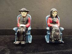 Antique Metal Amish Salt Pepper Shakers