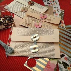 Creating pockets from old book pages. Fantastic repurposing idea for sending mail or making homemade invitations. Creating pockets from old book pages. Fantastic repurposing idea for sending mail or making homemade invitations. Envelopes, Pochette Diy, Book Page Crafts, Old Book Crafts, Envelope Art, Origami Envelope, Old Book Pages, Altered Books Pages, Handmade Books