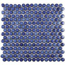 "Penny 0.8"" x 0.8"" Porcelain Mosaic Tile in Sapphire. Single tile stripe in kitchen."