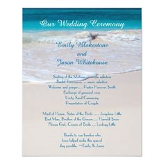 Beach Wedding Program Fan Template  Ceremony Program Lazy