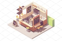 Isometric Drawing, Isometric Design, Architecture Concept Drawings, Architecture Design, Kiosk Design, Signage Design, Small Coffee Shop, Small Cafe Design, Game Design