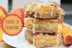 Peaches & Cream Bars - With fresh peaches! Dairy Free Treats, Vegan Treats, Yummy Treats, Sweet Treats, Baking Recipes, Cafe Recipes, Dessert Recipes, Cake Bars, Dessert Bars