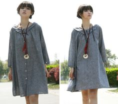 Free Style Lovely Wide Collared Short Dress with Pleats/ Any Size. $68.00, via Etsy.