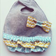 Handmade Baby Bib- grey, aqua, chevron