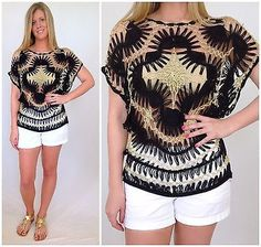 BOHO OPEN WEAVE CROCHET TOP HANDMADE KNIT VINTAGE INSPIRED BLACK IVORY GOLD | Clothing, Shoes & Accessories, Women's Clothing, Tops & Blouses | eBay!