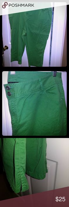 Lane Bryant Bright Green Capris, 20 The color of these reminds me of the fresh leaves starting to bud in the trees this time of year.   Perfect to wear to work with a button down and cardigan.  Excellent used condition. Help me clear out my closet! Lane Bryant Pants Capris